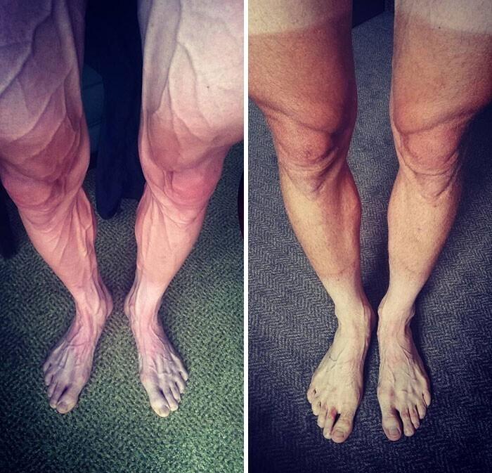 """""""Слева - твои ноги, когда ты проводишь целые дни на велосипеде. Справа - те же ноги после того, как ты ушел из большого спорта и катаешься лишь от случая к случаю"""""""